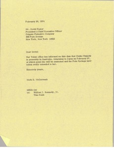 Thumbnail of Letter from Mark H. McCormack to David Foster