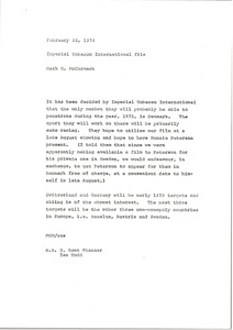 Thumbnail of Memorandum from Mark H. McCormack concerning the Imperial Tobacco International             file