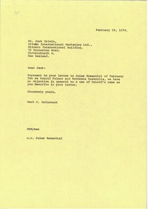 Thumbnail of Letter from Mark H. McCormack to Jack Urlwin