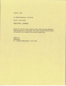 Thumbnail of Memorandum from Mark H. McCormack to H. Richard Isaacson