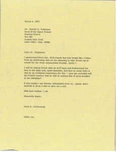 Thumbnail of Letter from Mark H. McCormack to Ronald D. Robinson
