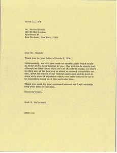 Thumbnail of Letter from Mark H. McCormack to Martin Olinick