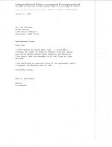 Thumbnail of Letter from Mark H. McCormack to Lester S. Coleman