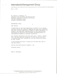 Thumbnail of Letter from Mark H. McCormack to Walter R. Hoefflin