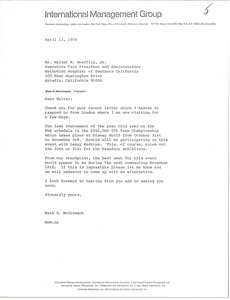 Thumbnail of Letter from Mark H. McCormack to Walter R. Hoefflin Jr.