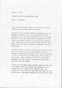 Thumbnail of Memorandum from Mark H. McCormack concerning Imperial Tobacco