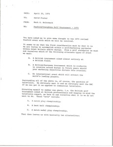 Thumbnail of Memorandum from Mark H. McCormack to David Foster