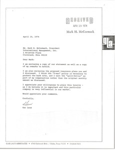 Thumbnail of Letter from Gar Laux to Mark H. McCormack