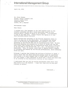 Thumbnail of Letter from Mark H. McCormack to Peter German