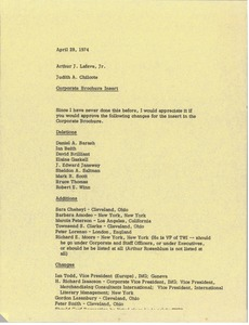 Thumbnail of Memorandum from Judy Chilcote to Arthur J. Lafave Jr.
