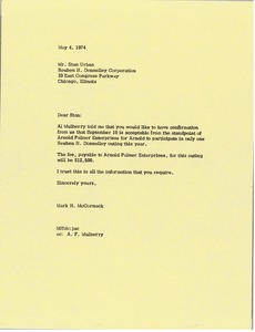 Thumbnail of Letter from Mark H. McCormack to Stan Urban