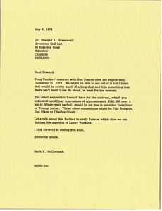 Thumbnail of Letter from Mark H. McCormack to Howard A. Greenwald