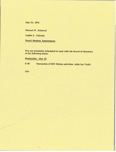 Thumbnail of Memorandum from Judy A. Chilcote to Michael W. Halstead