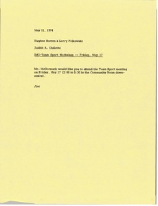 Thumbnail of Memorandum from Judy A. Chilcote to Hughes Norton and Larry Pelkowski