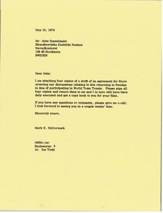 Thumbnail of Letter from Mark H. McCormack to Mats Hasselquist