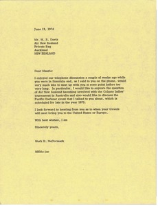 Thumbnail of Letter from Mark H. McCormack to Maurie R. Davis