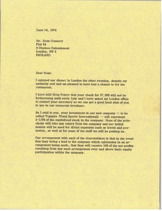 Thumbnail of Letter from Mark H. McCormack to Sean Connery