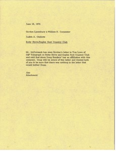 Thumbnail of Memorandum from Judy A. Chilcote to Gordon Lazenbury and William H. Carpenter