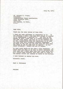 Thumbnail of Letter from Mark H. McCormack to Michael F. O'Hara
