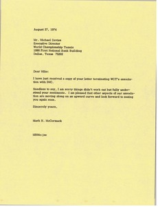 Thumbnail of Letter from Mark H. McCormack to Michael Davies