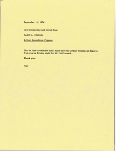 Thumbnail of Memorandum from Judy A. Chilcote to Geof Ravenstine and David A. Rees