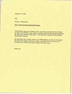 Thumbnail of Memorandum from Mark H. McCormack to Gary Player Colgate Penfold Craigton file