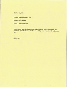 Thumbnail of Memorandum from Mark H. McCormack to Colgate working papers file