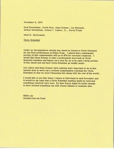 Thumbnail of Memorandum from Mark H. McCormack to Geof Ravenstine, David A. Rees, Hans Kramer, Jay Michaels, Arthur Rosenblum, Arthur J. Lafave and Barry Frank