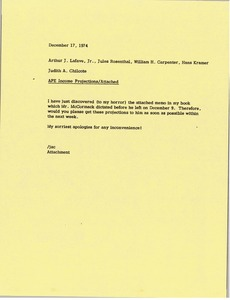 Thumbnail of Memorandum from Judith A. Chilcote to Arthur J. Lafave, Jules Rosenthal, William         H. Carpenter and Hans Kramer