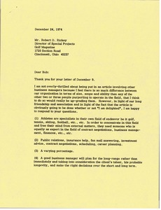 Thumbnail of Letter from Mark H. McCormack to Robert D. Rickey