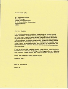Thumbnail of Letter from Mark H. McCormack to Hisamitsu Ohnishi