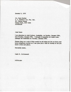 Thumbnail of Letter from Mark H. McCormack to Russ Becker