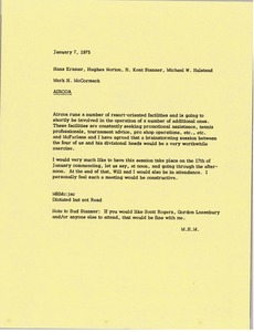 Thumbnail of Memorandum from Mark H. McCormack to Hans Kramer, Hughes Norton, H. Kent Stanner         and Michael W. Halstead