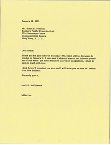 Thumbnail of Letter from Mark H. McCormack to Simon B. Pendock