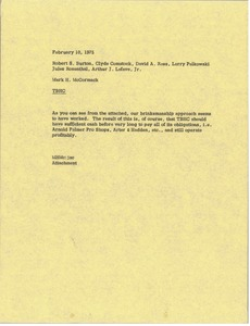 Thumbnail of Memorandum from Mark H. McCormack to Robert S. Burton, Clyde Comstock, David A. Rees, Larry Pelkowski, Jules Rosenthal and ARthur J. Lafave