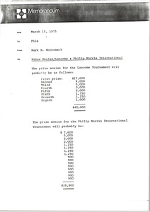 Thumbnail of Memorandum from Mark H. McCormack to Lancome Tournament and Philip Morris International             prize money file