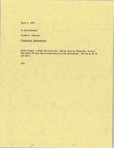 Thumbnail of Memorandum from Judy A. Chilcote to H. Kent Stanner