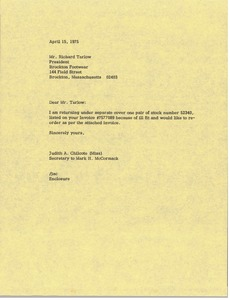 Thumbnail of Letter from Judy A. Chilcote to Richard Tarlow