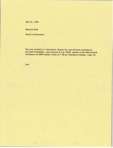 Thumbnail of Memorandum from Board of Directors to Howard Katz