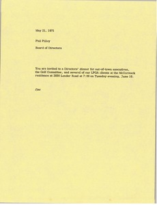 Thumbnail of Memorandum from Board of Directors to Phil Pilley