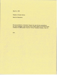 Thumbnail of Memorandum from Board of Directors to Hughes and Candy Norton