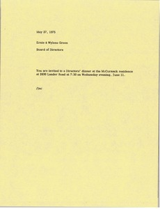 Thumbnail of Memorandum from Board of Directors to Ernie and Wylene Green