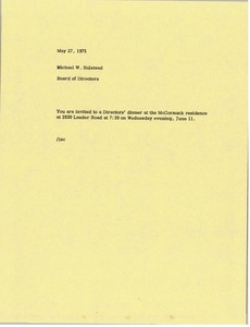 Thumbnail of Memorandum from Board of Directors to Michael W. Halstead