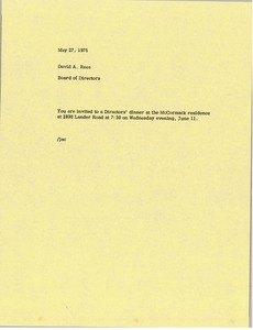 Thumbnail of Memorandum from Board of Directors to David A. Rees