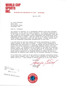 Thumbnail of Letter from George Beim to Mark H. McCormack
