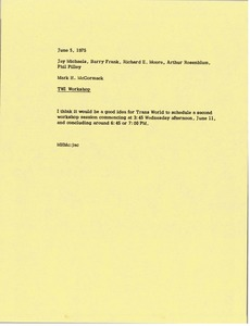 Thumbnail of Memorandum from Mark H. McCormack to Jay Michaels, Barry Frank, Richard E.             Moore, Arthur Rosenblum and Phil Pilley
