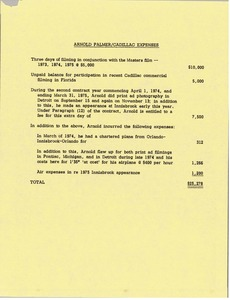 Thumbnail of Arnold Palmer Cadillac expenses