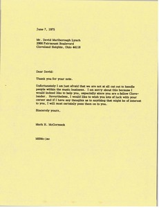 Thumbnail of Letter from Mark H. McCormack to David Marlborough Lynch