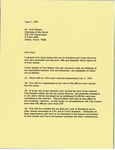 Thumbnail of Letter from Mark H. McCormack to Paul Thayer