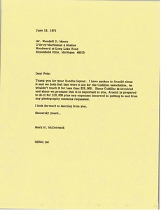 Thumbnail of Letter from Mark H. McCormack to Wendell D. Moore